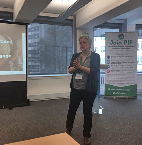 Michelle presenting at the PIF health event
