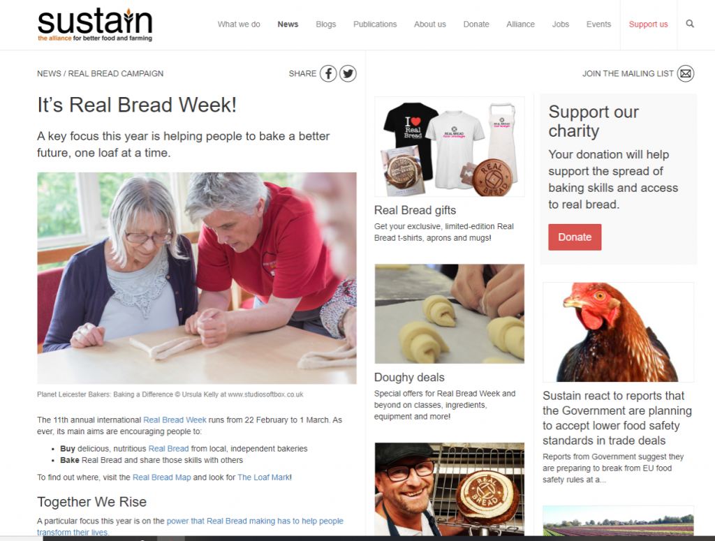 Planet Leicester Bakers featuring on the Real Bread Campaign website